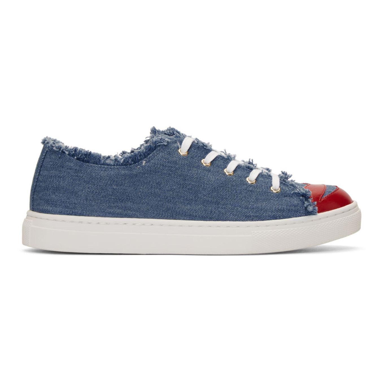 Charlotte Olympia Blue Denim 'Kiss Me' Sneakers
