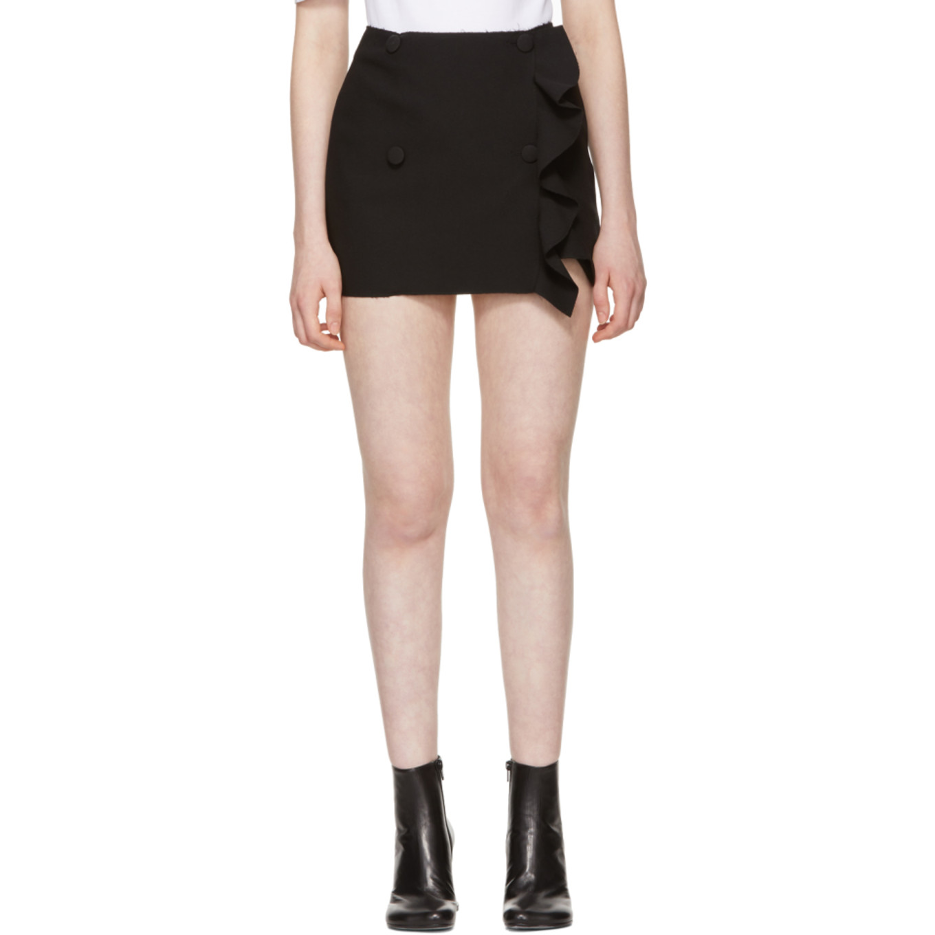 Yellow Ruffled Side Buttons Miniskirt by Msgm