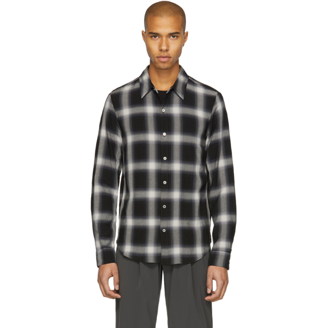 Black Check Shirt by Attachment
