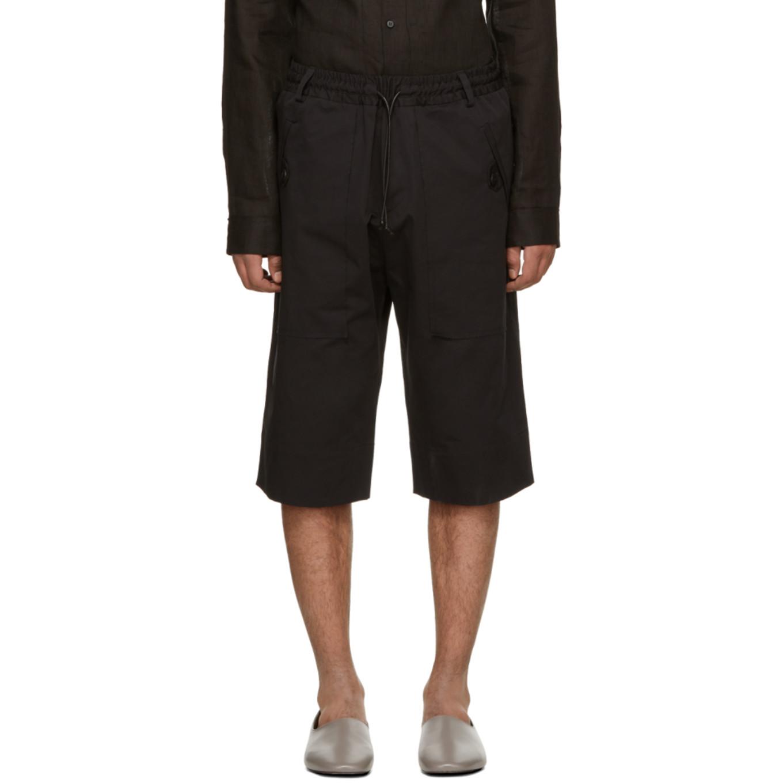 Black Elastic Waist Shorts by Isabel Benenato