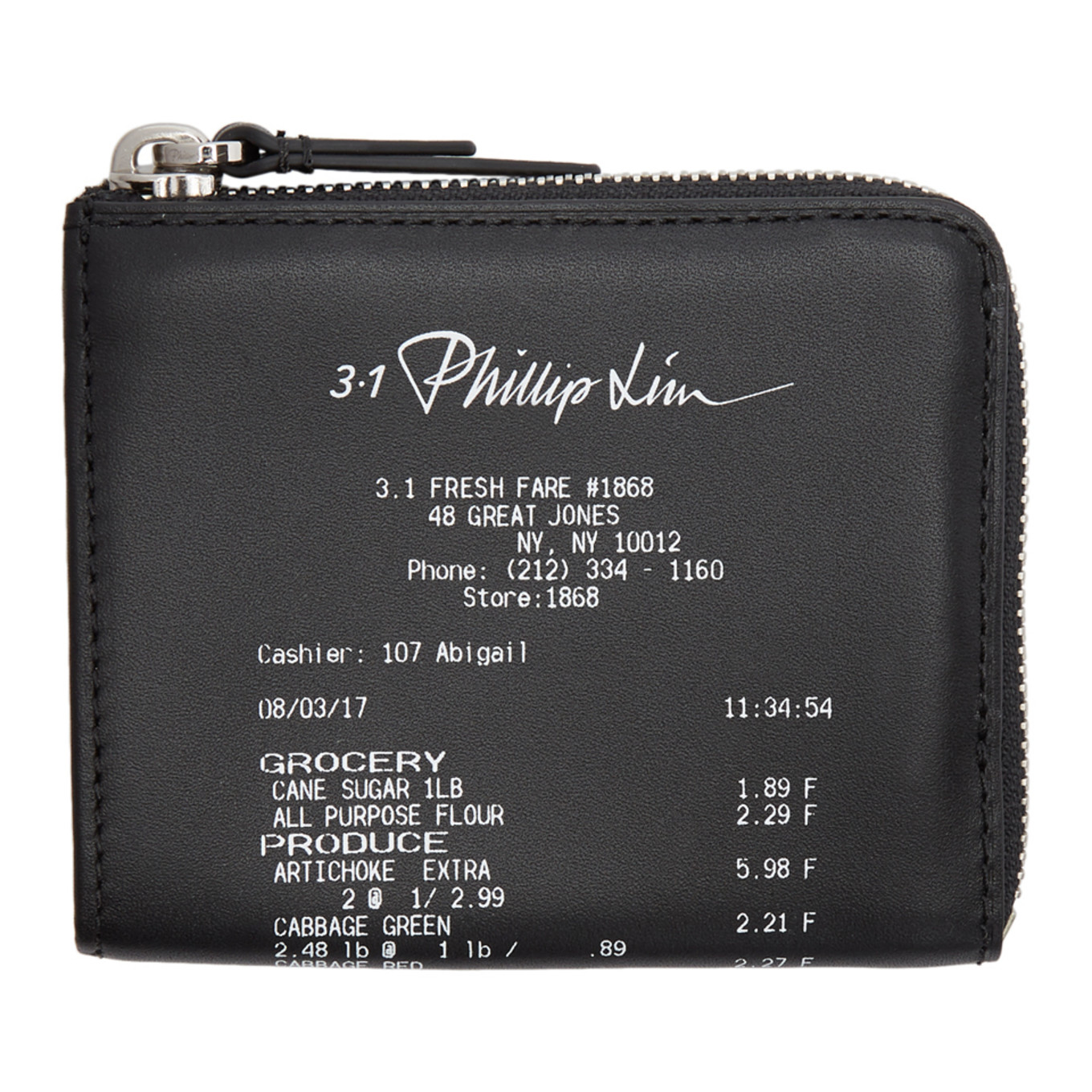 Black Mini Receipt Zip Around Wallet by 3.1 Phillip Lim