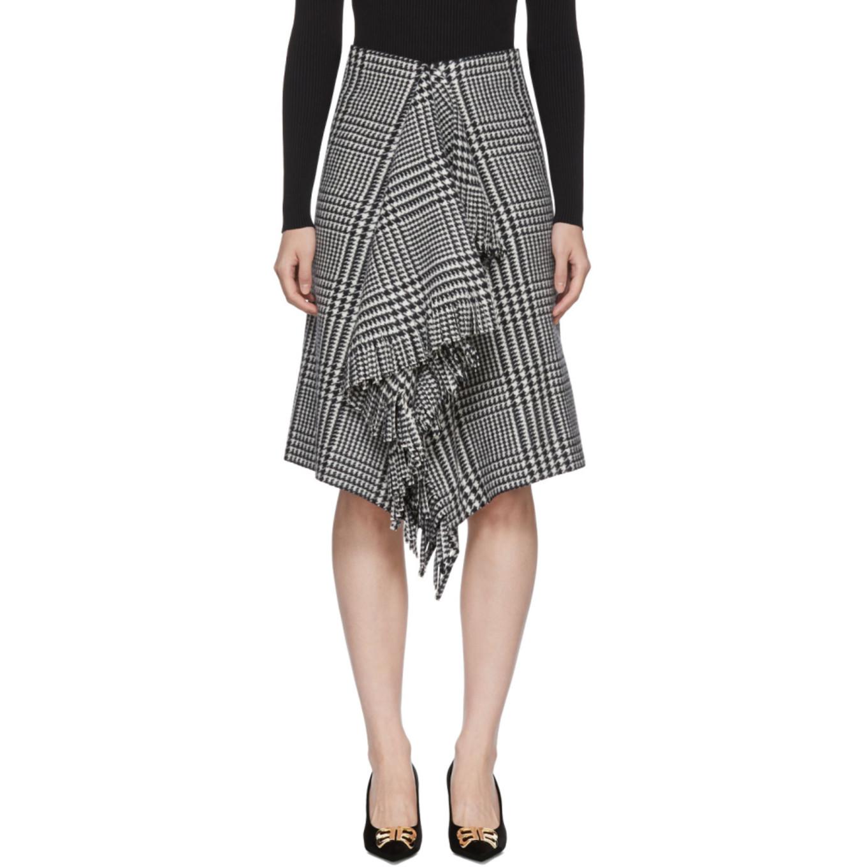 Black & White Wool Fringe Skirt by Balenciaga