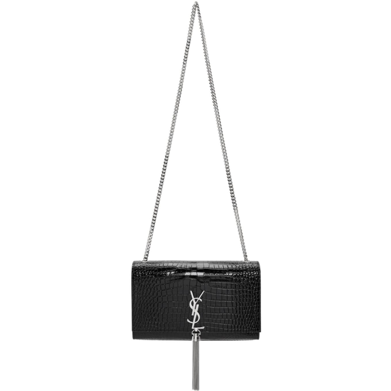 Black Croc Medium Tassel Kate Chain Bag by Saint Laurent
