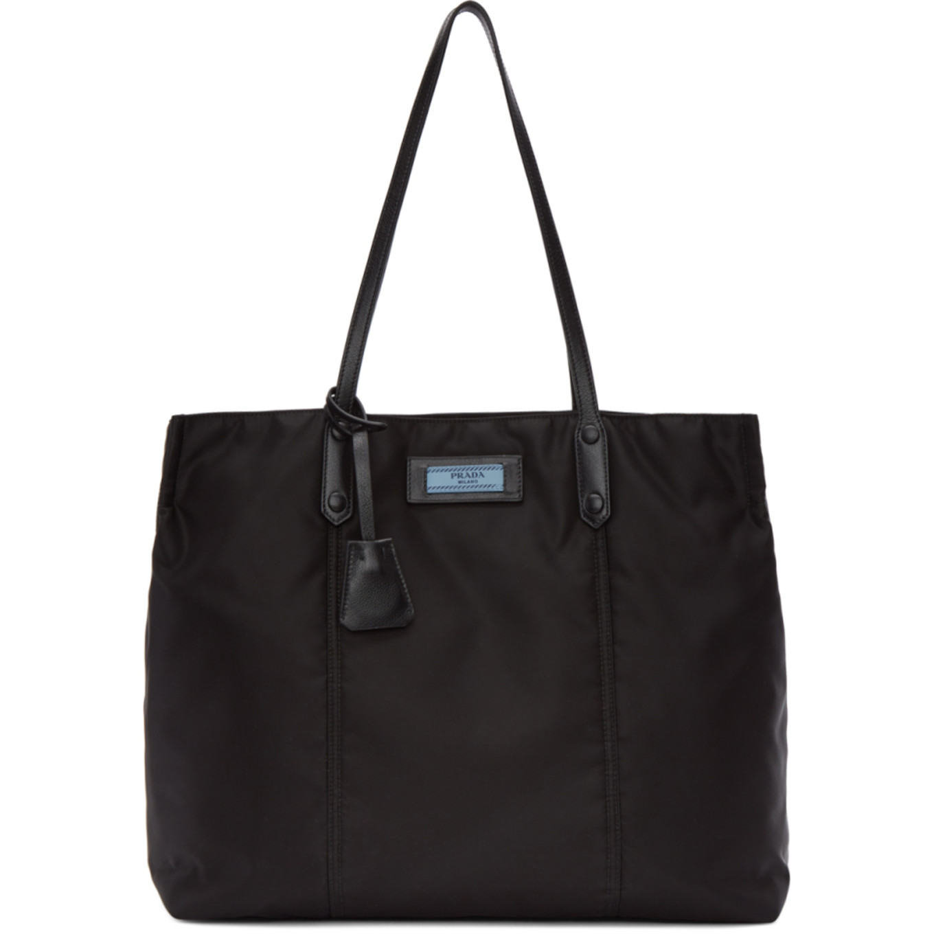 Black Logo Tag North/South Tote by Prada