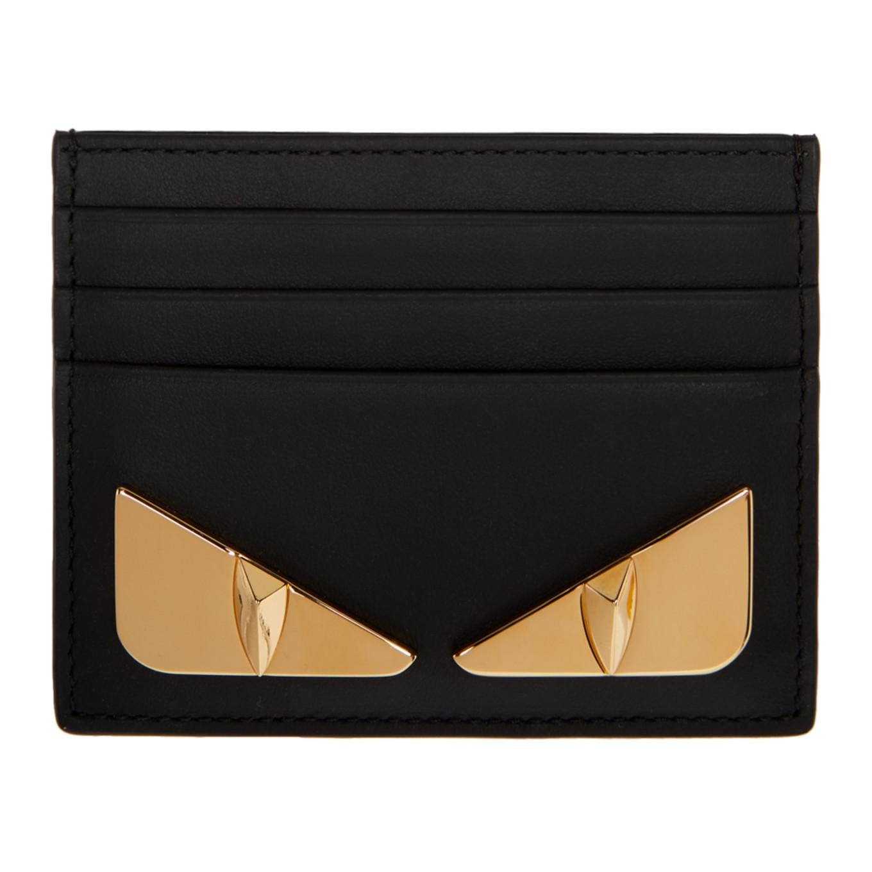 Black & Gold 'bag Bugs' Card Holder by Fendi