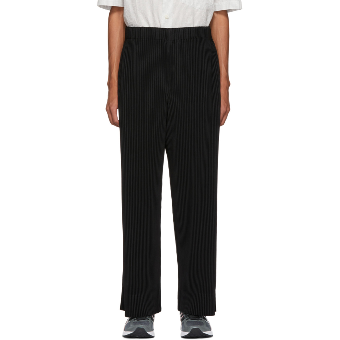 Black Pleated Wide Leg Trousers by Homme PlissÉ Issey Miyake