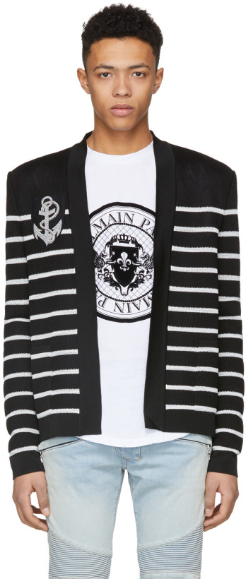 Balmain Black & White Striped Anchor Badge Cardigan
