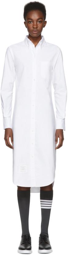 Thom Browne White Classic Button-Down Point Collar Shirt Dress