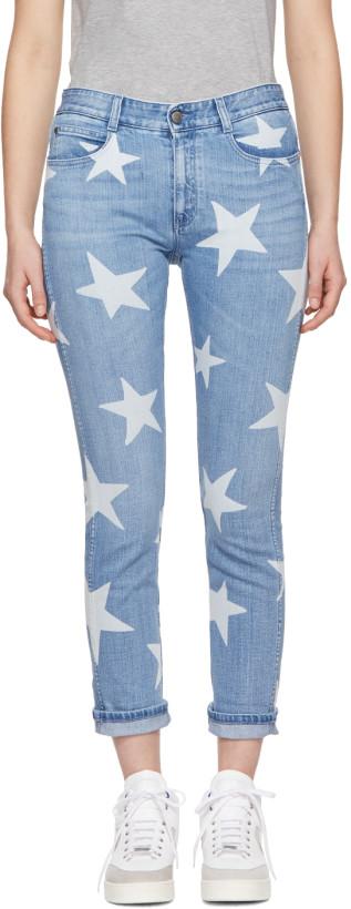 Stella McCartney Blue Stars Skinny Boyfriend Jeans