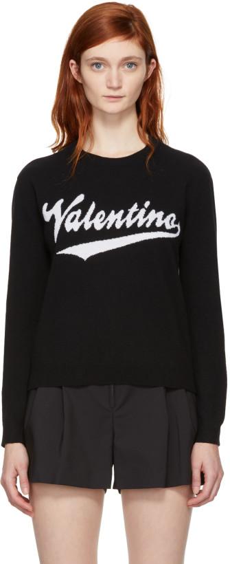 Valentino Black Cashmere Writing Logo Pullover