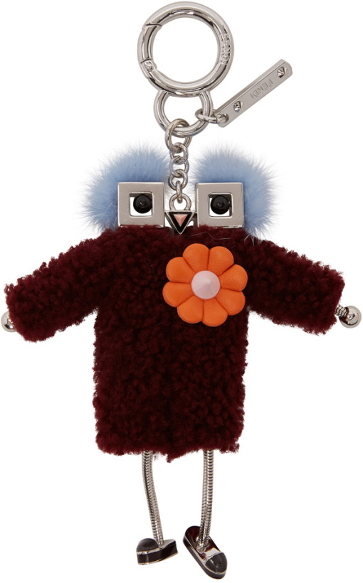 Fendi Burgundy Teen Witch Shearling Keychain