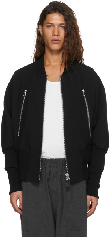 Issey Miyake Men Black Wool Double Zip Bomber Jacket