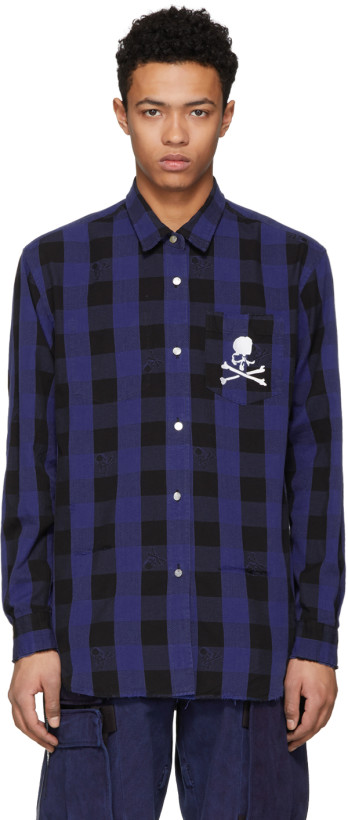 mastermind WORLD Reversible Blue & Black Check Shirt w embroidered skull
