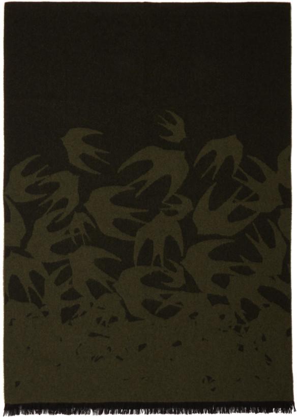 McQ Alexander McQueen Green & Black Swallows Dégradé Scarf