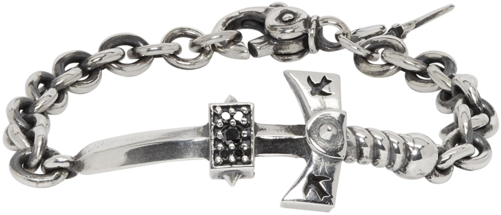 Luka Sabbat x Monini Silver & Black Diamond Sword Bracelet
