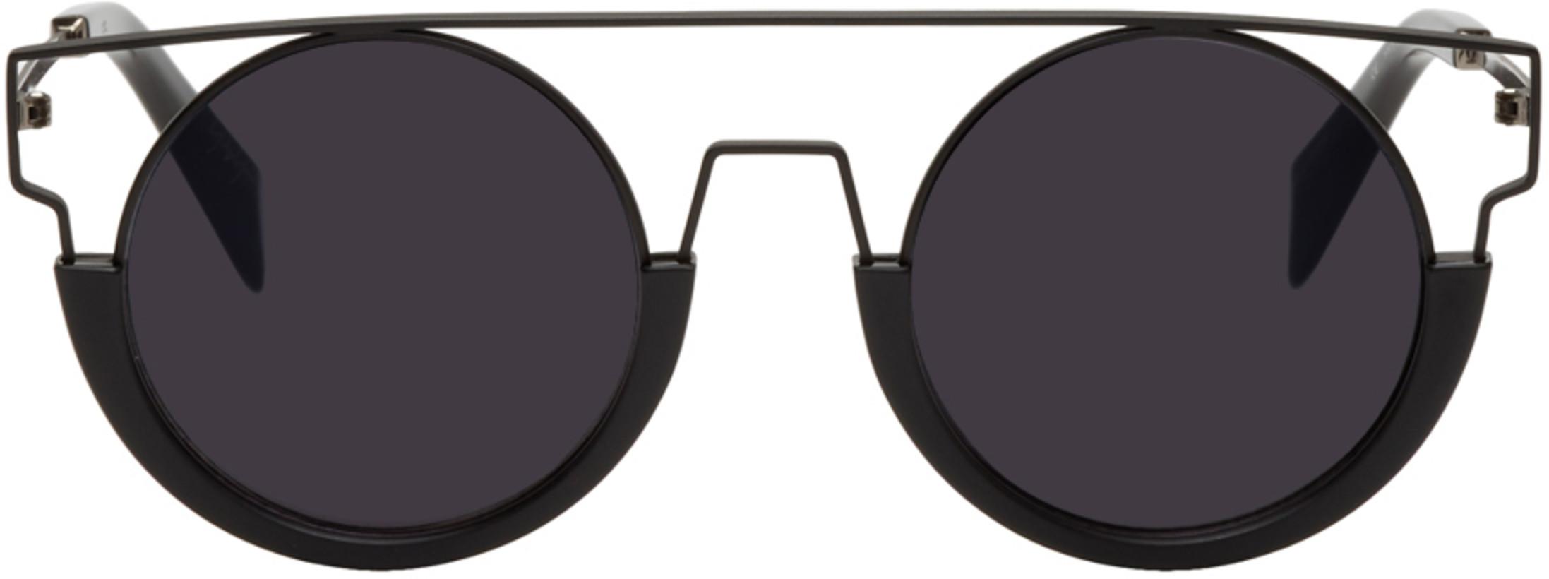 Yohji Yamamoto Black Round Wire Frame Sunglasses