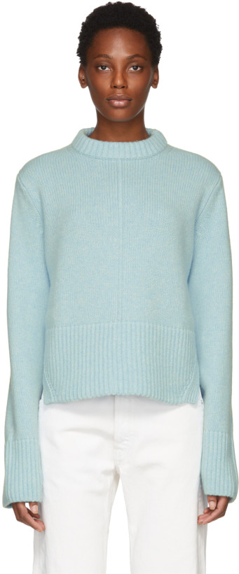 Khaite Blue Cashmere Virginia Sweater