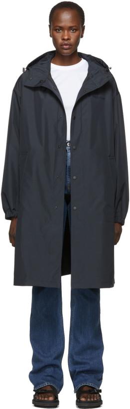 Helmut Lang Black Recycled Hooded Rain Coat