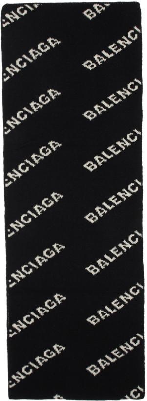 Balenciaga Black & White Allover Logo Scarf