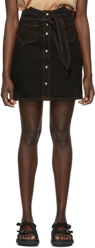 Nanushka Black Denim Reese Skirt