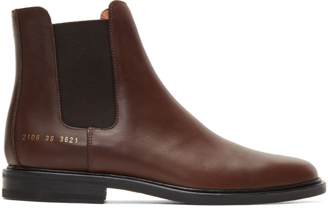 Common Projects Brown Leather Chelsea Boots