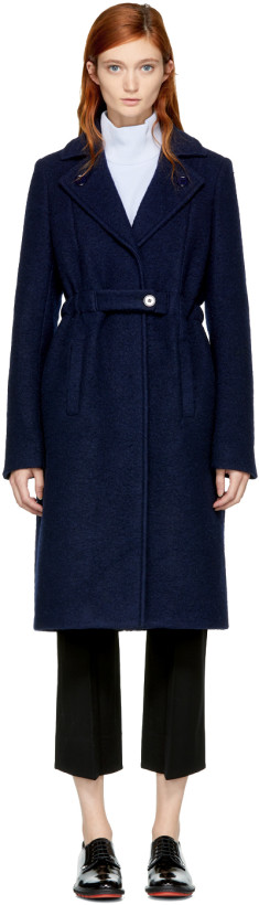 Carven Women's Blue Long Wool Trench Coat