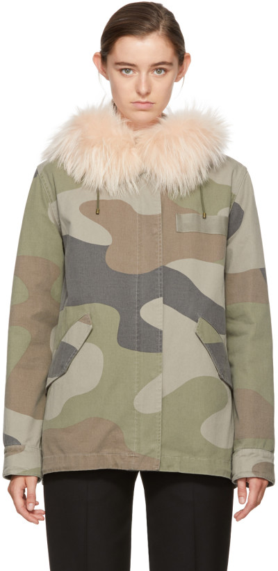 Army by Yves Salomon Green Camo Classic Short Parka