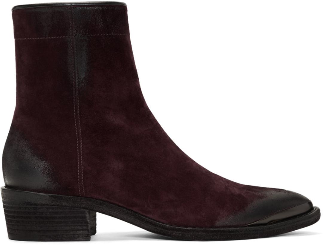 Haider Ackermann Burgundy Suede Zip Chelsea Boots