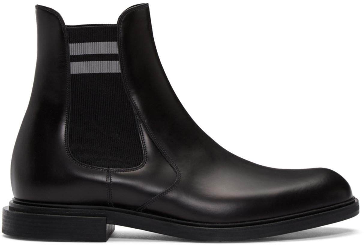 Fendi Men's Black Leather Chelsea Boots
