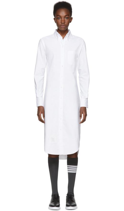 Thom Browne - White Classic Button Down Point Collar Shirt Dress