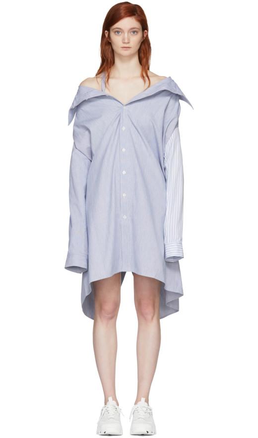 Ambush - White And Blue Stripe Shirt Dress