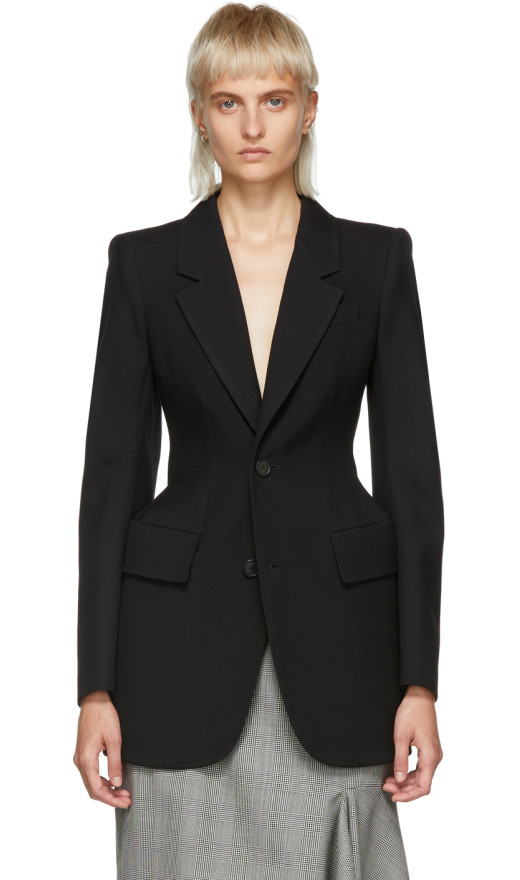 Balenciaga - Black Hourglass Single Breasted Blazer