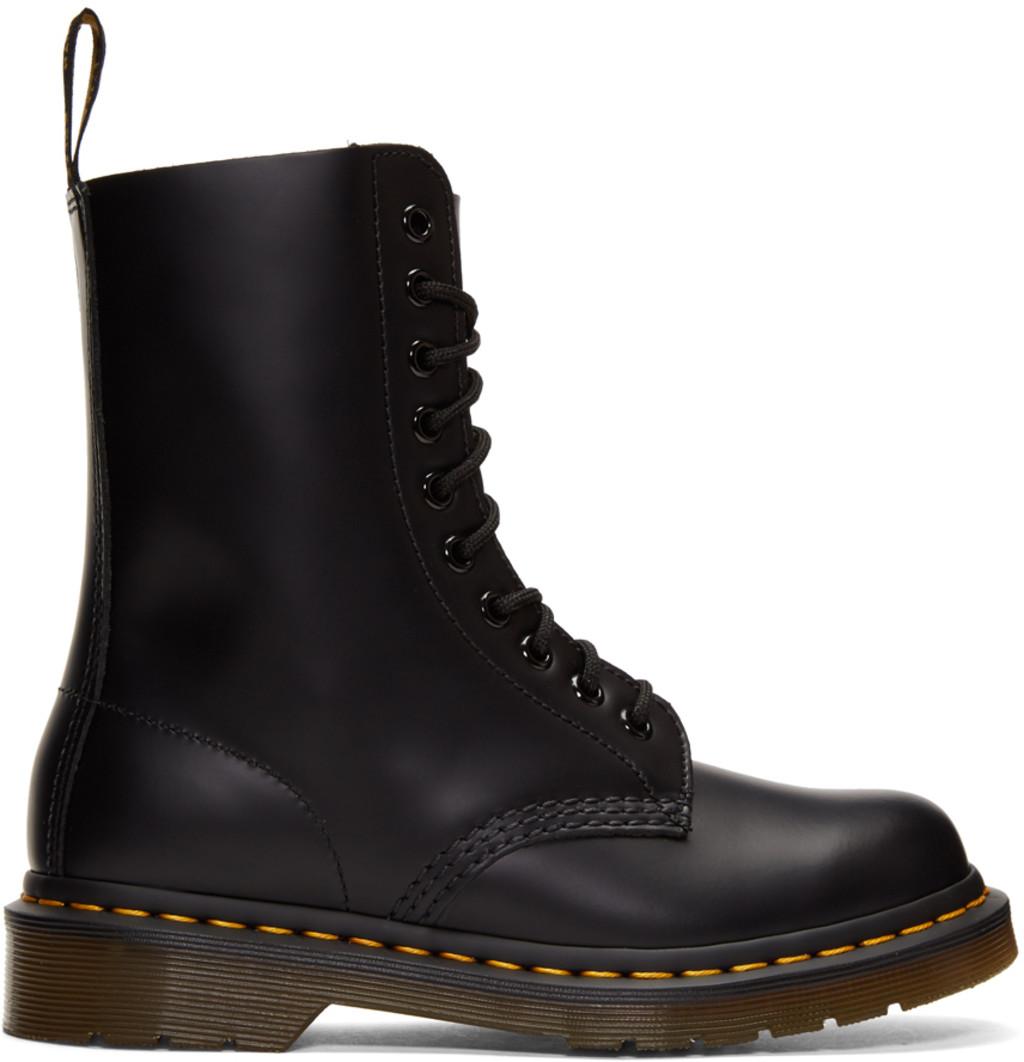 Unravel Black Suede Fur-Lined 14-Eye Boots I6sKc