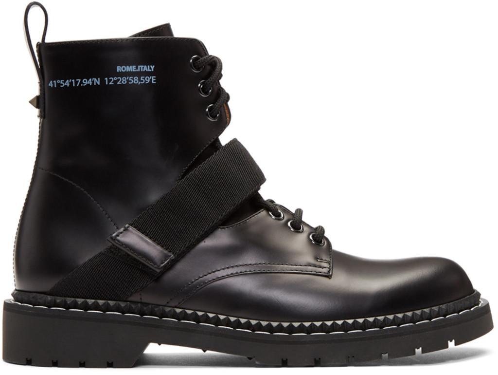 Heron Preston Black Cropped Blucher Lace-Up Boots 95tDlG