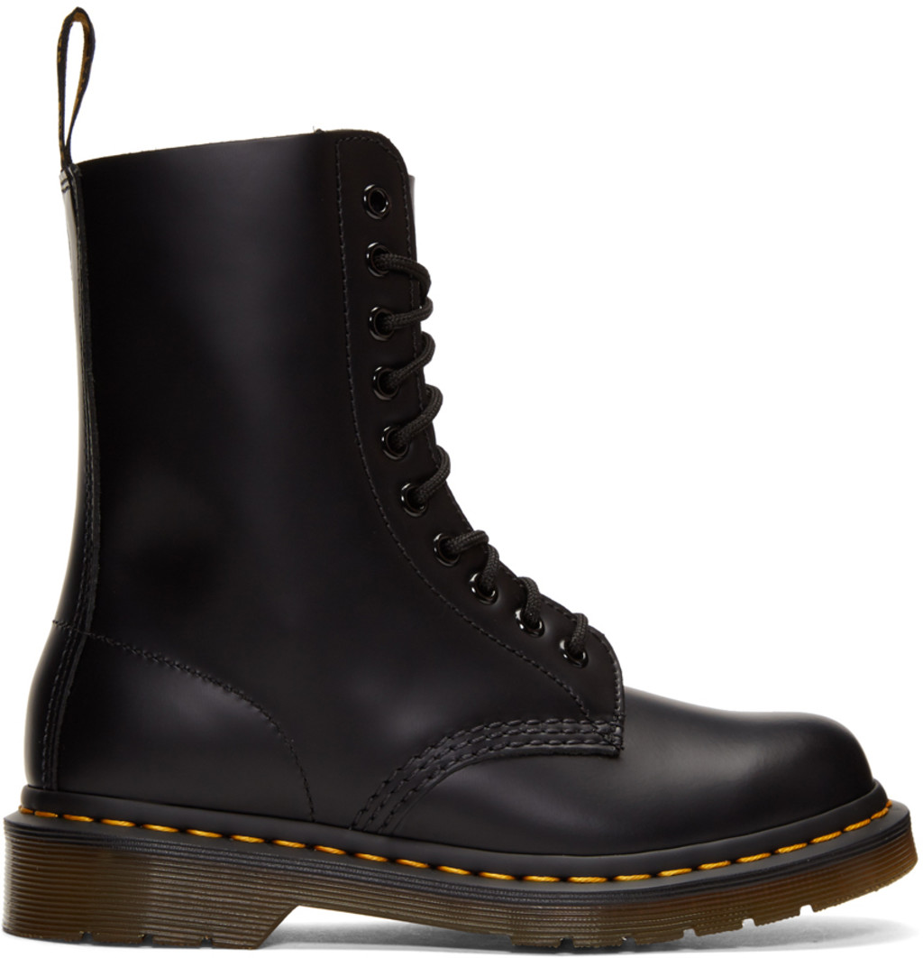 Unravel Black Suede Fur-Lined 14-Eye Boots
