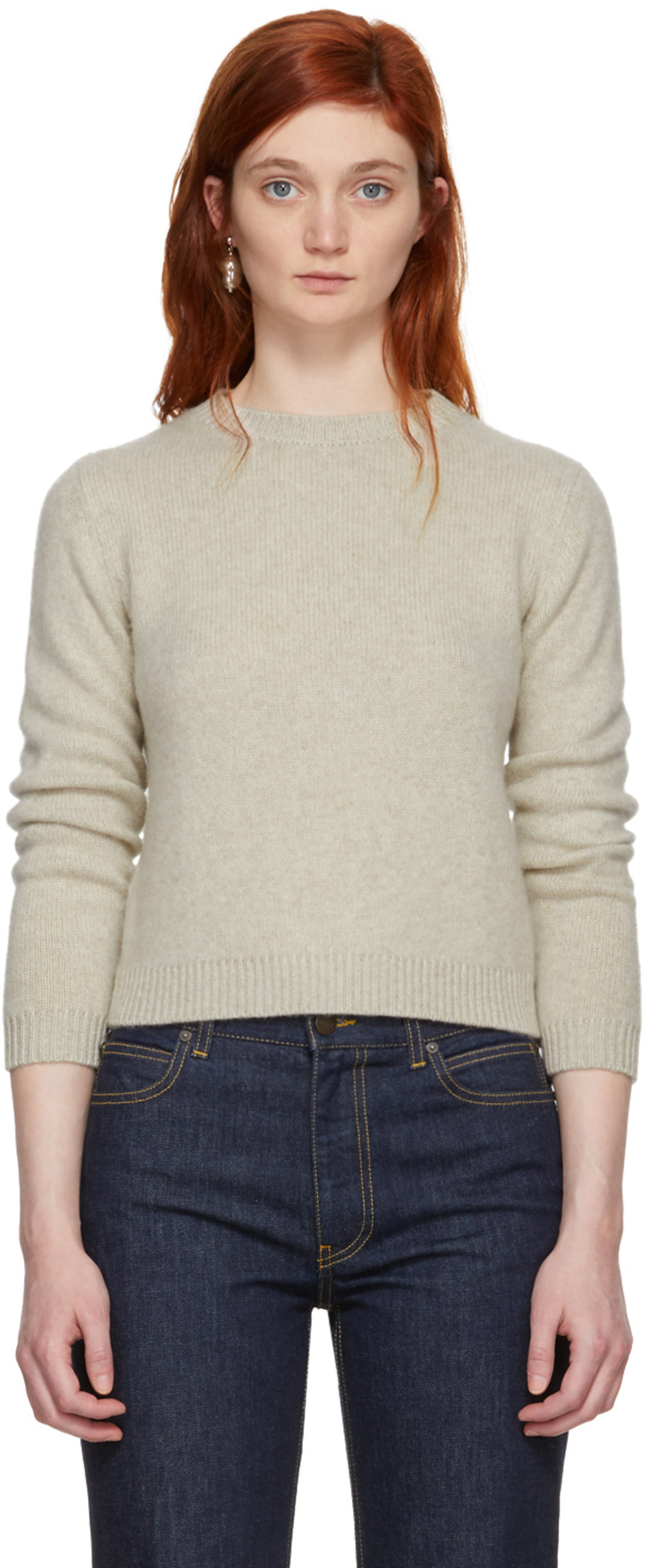 Off-White Cashmere Simple Cropped Crewneck Sweater The Elder Statesman