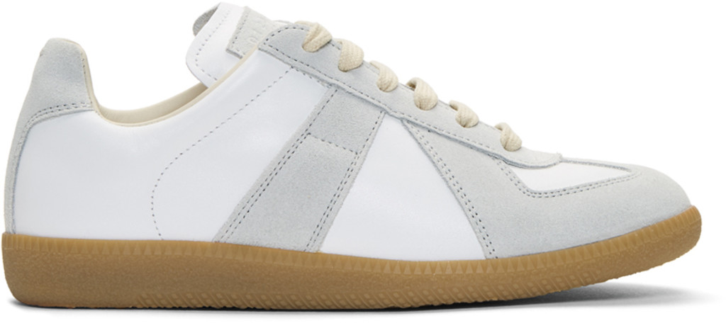 Balmain White & Grey Decortique Cut-Out Replica Sneakers