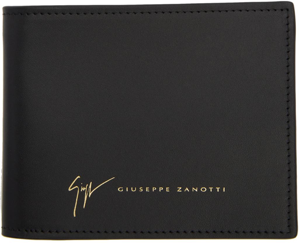 Giuseppe Zanotti - Portefeuille en cuir de veau noir embossé crocodile TOM