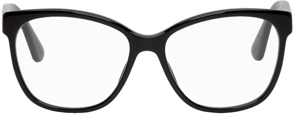 Black Crystal Logo Cat-Eye Glasses
