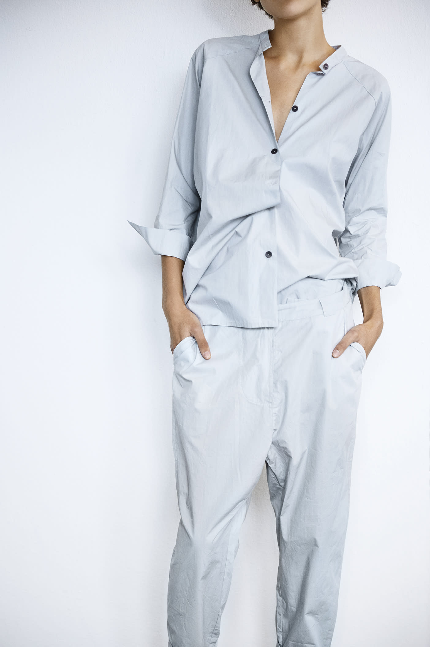 Humanoid Cotton Crisp Trousers in Mist