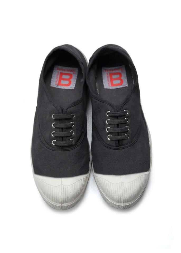 Bensimon Black Lace Up Tennis Shoe