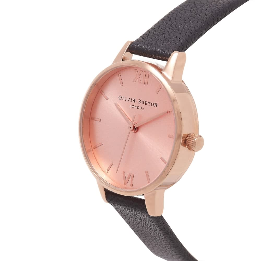 Olivia Burton London Midi Dial Black & Rose Gold Watch