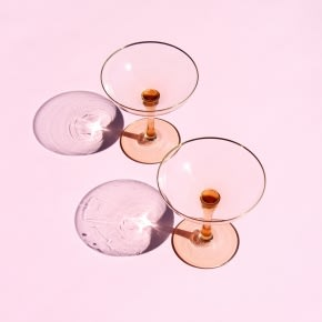 &klevering Set Of 2 Pink & Gold Champagne Coupe Glasses