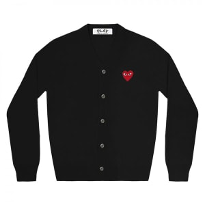 Comme Des Garcons Play Black With Red Heart Play Wool Cardigan