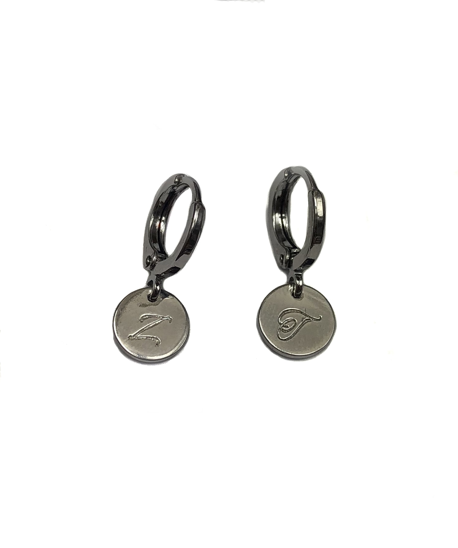Tiny Initial Disc Earrings