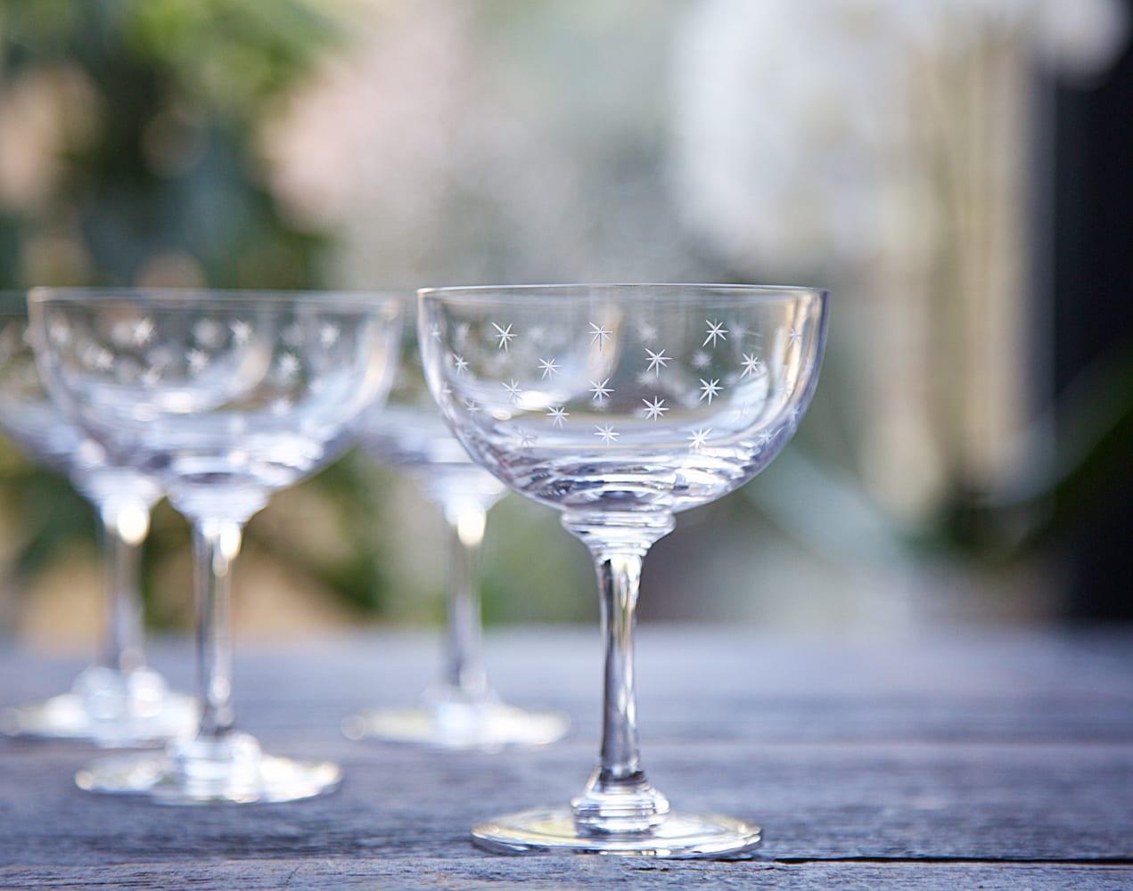 The Vintage List Set Of 2 Stars Vintage Champagne Saucer Glasses