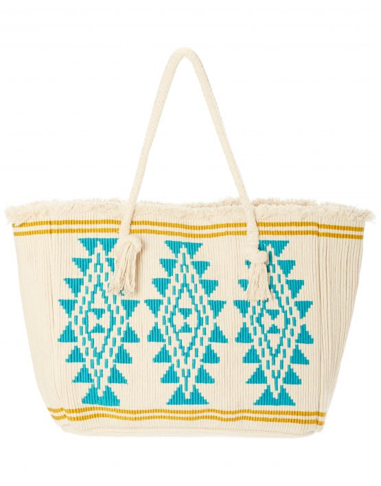 Star Mela Io Rope Embroidered Tote Bag Ivory/Turquoise
