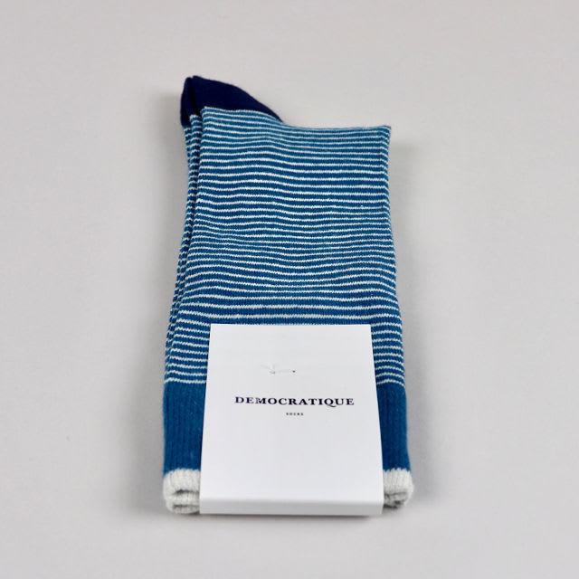 Democratique Socks Benzin Off White Navy Mini Stripes Men's Socks