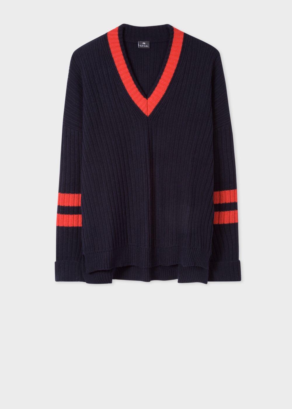 PS by Paul Smith Navy Oversized V Neck Sweater