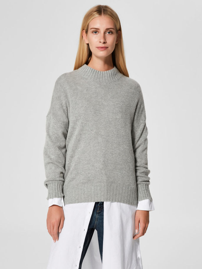 Selected Femme Classic Grey Knitted Wool and Alpaca KALUKA Jumper With A  Funnel Neck